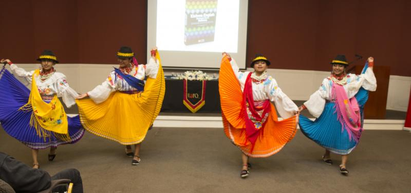 Ecuatorian dancers at the launch of Gualapuro's dictionary