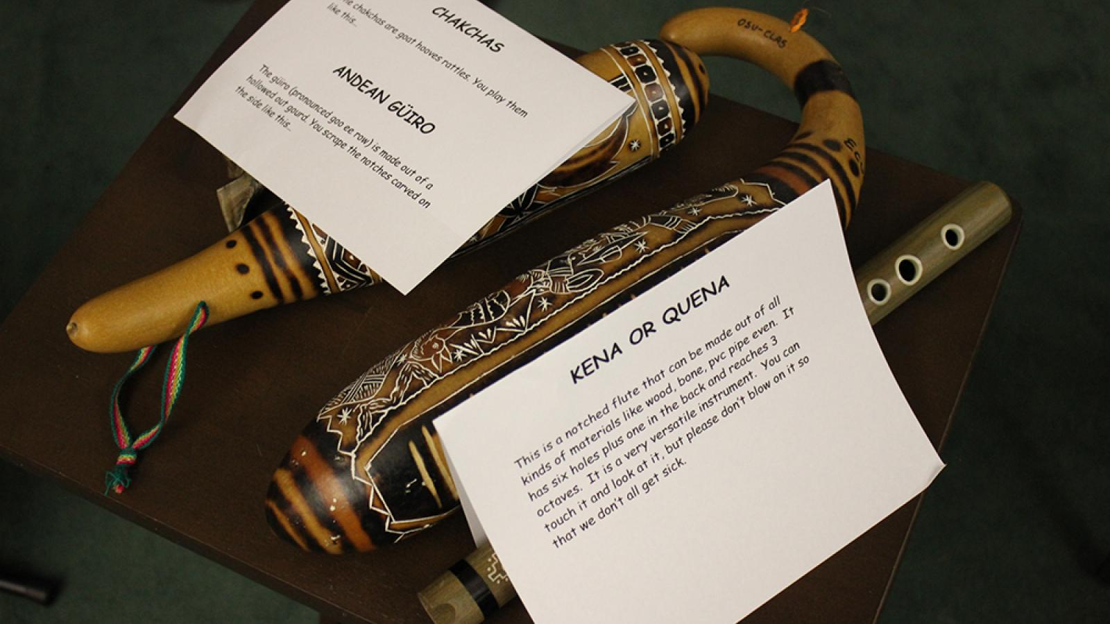 Instruments: Kena/Quena (notched mouthpiece flutes), Chakchas (goat hooves rattles)